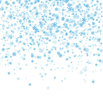 Falling snowflakes on white background. Merry Christmas and Happy New Year pattern. Vector illustration.