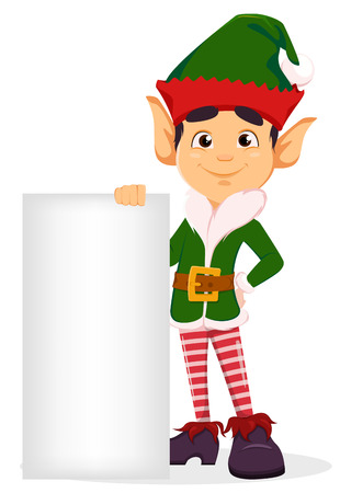 Merry Christmas and Happy New Year. Elf standing near blank placard. Happy smiling cartoon character. Vector illustration on white background Vectores