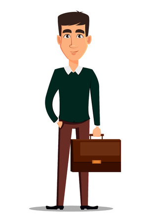 Business man cartoon character. Young handsome smiling businessman in smart casual clothes holding a briefcase. Stock vector