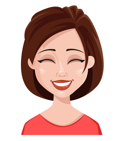 Face expression of a woman - laughing. Female emotions. Attractive cartoon character. Vector illustration isolated on white background.