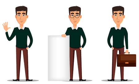wave hello: Business man cartoon character. Young handsome smiling businessman in smart casual clothes. Set of three illustrations. Stock vector Illustration