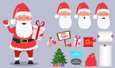 Merry Christmas and a Happy New Year greeting card. Set of Santa Claus with body parts. Funny cartoon character. Vector illustration on bright background.