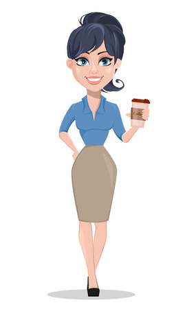 Business woman holding cup of cofee. Beautiful businesswoman in formal clothes standing straight. Cute cartoon character. Vector illustration.