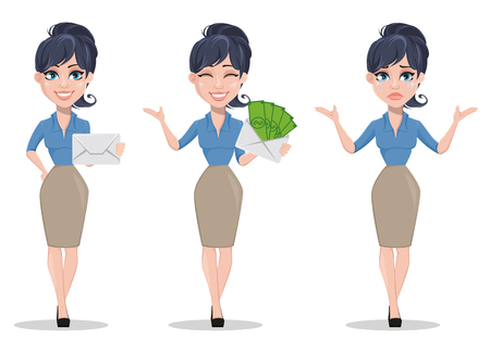 Business woman, set of three poses, holding envelope, holding envelope with money and crying. Beautiful businesswoman in formal clothes standing straight. Cute cartoon character. Vector illustration.
