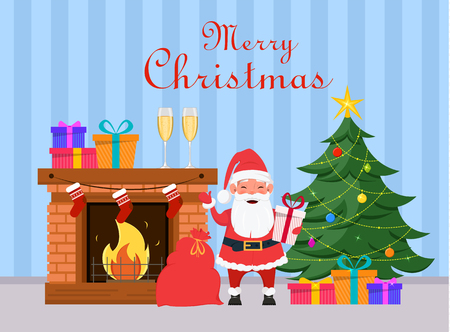 Santa Claus holding gift box and standing near fireplace and Christmas tree. Blue striped background. Merry Christmas and Happy New Year greeting card. Vector.