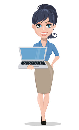 Business woman holding modern laptop. Beautiful businesswoman in formal clothes standing straight. Cute cartoon character. Vector illustration. Illustration