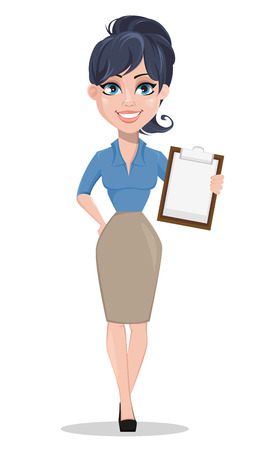 Smiling business woman holding checklist. Beautiful businesswoman in formal clothes standing straight. Cute cartoon character. Vector illustration.