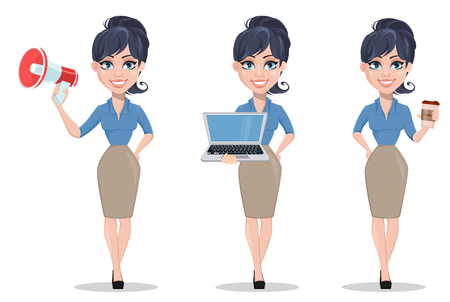 Business woman, set of three poses, holding clipboard, crying and holding placard. Beautiful businesswoman in formal clothes standing straight. Cute cartoon character. Vector illustration.