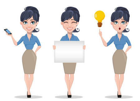 Business woman, set of three poses, holding smartphone, holding placard and having an idea. Beautiful businesswoman in formal clothes standing straight. Cute cartoon character. Vector illustration.