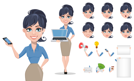 Business woman cartoon character creation set. Young beautiful businesswoman in smart casual clothes. Build your personal design - stock vector