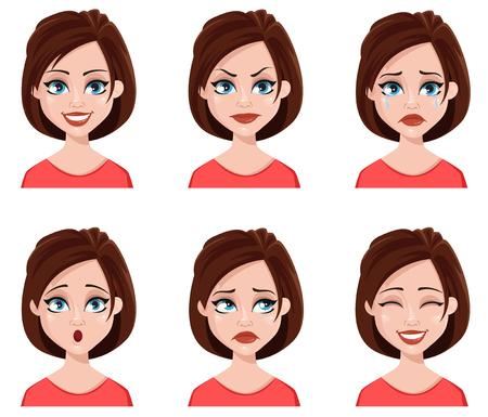 귀여운 여자의 얼굴 표정입니다. 다른 여성 감정 설정합니다. 매력적인 만화 캐릭터입니다. 벡터 일러스트 레이 션 흰색 배경에 고립.