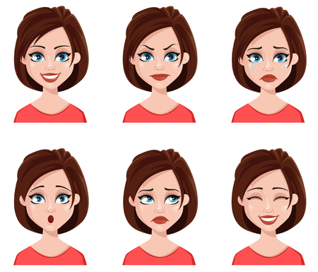 Facial expressions of a cute woman. Different female emotions set. Attractive cartoon character. Vector illustration isolated on white background. Illustration