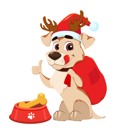 Merry Christmas greeting card. Funny dog wearing Santa Claus hat and deer antlers sitting near bowl with food and showing thumb up sign. Vector illustration on white background.