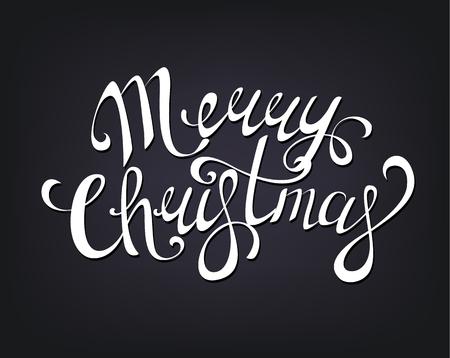 Merry Christmas hand written lettering. Vector illustration on dark background.