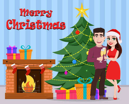 Merry Christmas greeting card with cute young couple. Smiling man and woman holding glasses of champagne and standing near decorated Christmas tree and fireplace. Vector illustration