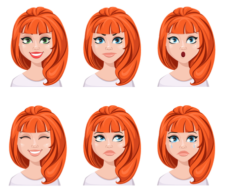 Facial expression of a redhead woman. Vectores