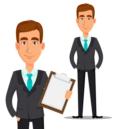 Business man cartoon character. Young handsome smiling businessman in business suit holding blank clipboard and standing straight. Vector illustration