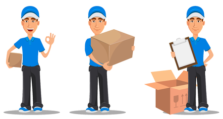 Set of delivery men icon.