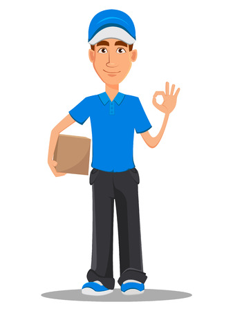 Smiling delivery man in blue uniform holding carton box and showing ok sign. Vector illustration on white background. Illustration