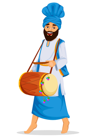 Sikh man with drum icon.