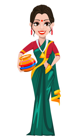 Indian girl with pot. Happy Pongal greeting card. Makar sankranti. Vector illustration on white background.