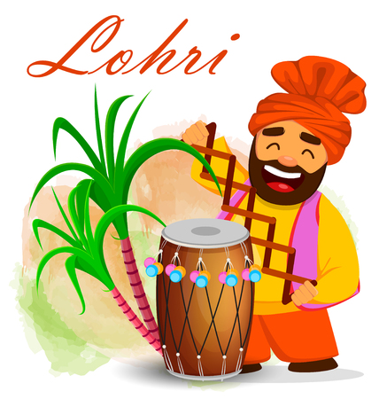 Popular winter Punjabi folk festival Lohri. Funny Sikh man celebrating holiday, cartoon character. Colorful vector illustration
