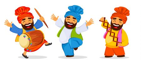 Funny dancing sikh men celebrating holiday illustration. Illustration