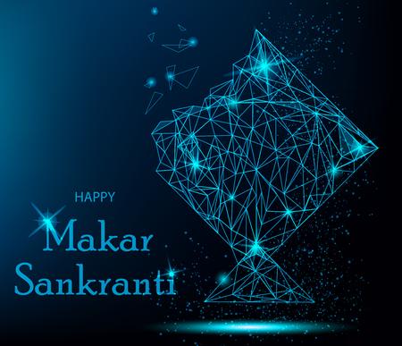 Makar Sankranti Greeting Card with polygonal kite. Vibrant vector illustration for holiday.
