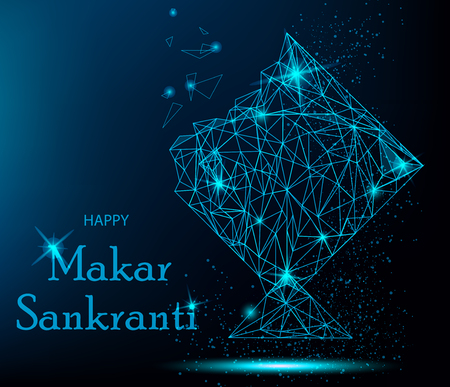 Makar Sankranti Greeting Card with polygonal kite. Vibrant vector illustration for holiday.