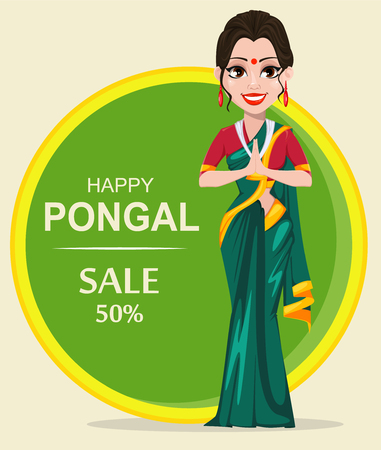 Indian girl. Happy Pongal greeting card. Makar sankranti. Vector illustration. Illustration