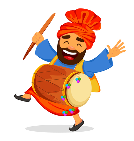 Popular winter Punjabi folk festival Lohri. Funny dancing Sikh man with drum, cartoon character. Vector illustration on white background.