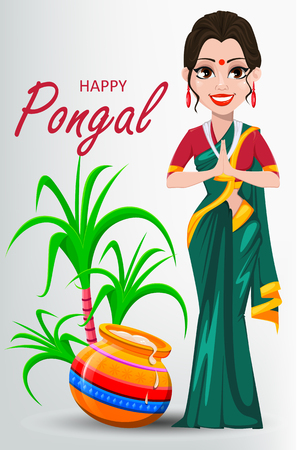 Indian girl with pot and sugarcane. Happy Pongal greeting card. Makar sankranti. Vector illustration on white background.