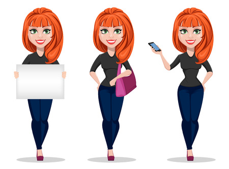 Freelancer woman cartoon character. Young beautiful businesswoman or designer in free style clothes holding placard, holding handbag and holding smartphone - stock vector Illustration