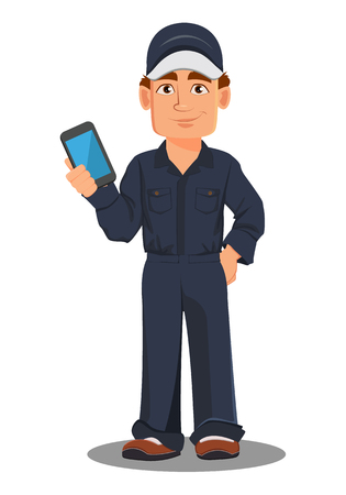Professional auto mechanic in uniform. Smiling cartoon character holding smartphone. Expert service worker. Vector illustration