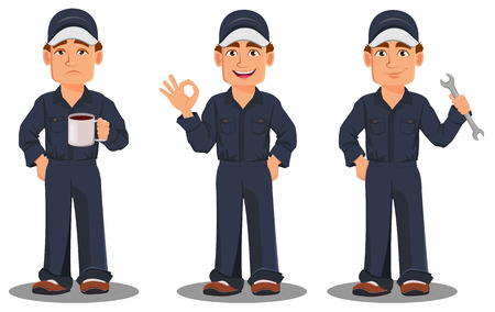 Professional auto mechanic in uniform. Smiling cartoon character, set with coffee, ok sign and wrench. Expert service worker. Vector illustration Illustration