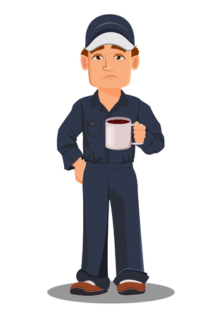 Professional auto mechanic in uniform. Tired cartoon character holding hot drink (coffee or tea). Expert service worker. Vector illustration Ilustração