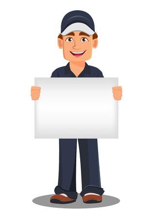 Professional auto mechanic in uniform. Smiling cartoon character holding blank placard. Expert service worker. Vector illustration.