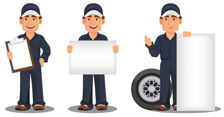 Professional auto mechanic in uniform. Smiling cartoon character, set with clipboard, banner and wheel. Expert service worker. Vector illustration.