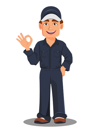 Professional auto mechanic in uniform. Smiling cartoon character showing ok sign. Expert service worker. Vector illustration.