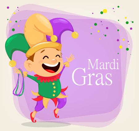 Mardi Gras nar holding kettingen voor poster, wenskaart, feestuitnodiging, banner of flyer op abstracte achtergrond. Vrolijk stripfiguur. Vector illustratie Stock Illustratie