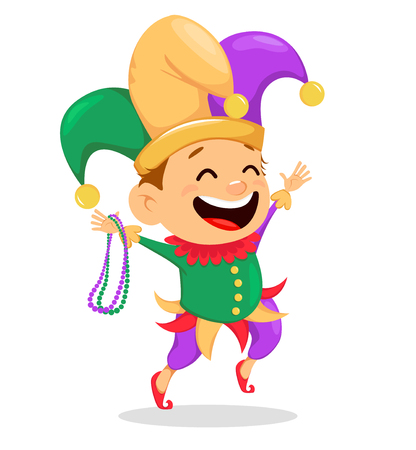 Mardi Gras jester holding necklaces for poster, greeting card, party invitation, banner or flyer on white background. Cheerful cartoon character. Vector Illustration.