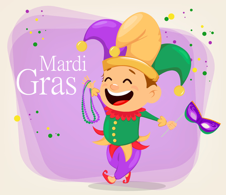 Mardi Gras jester holding necklaces and mask for poster, greeting card, party invitation, banner on abstract background. Cheerful cartoon character. Vector Illustration.