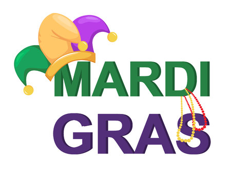 Mardi Gras jester hat with necklaces and words for poster, greeting card, party invitation, banner on white background. Vector Illustration. Illustration