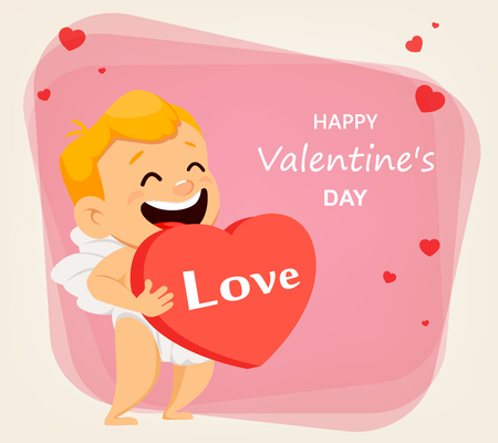Valentines Day greeting card with cute cupid holding big red heart. Smiling cartoon character and lettering. Vector illustration on abstract background.