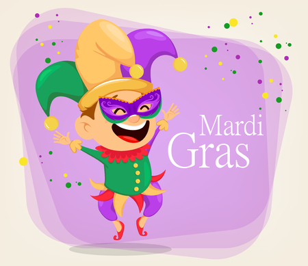 Mardi Gras jester in a mask for poster, greeting card, party invitation, banner or flyer on abstract background. Cheerful cartoon character. Vector Illustration. Illustration