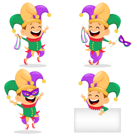 Mardi Gras jester, set. Cheerful cartoon character for poster, greeting card, party invitation banner. Vector Illustration on white background. Illustration