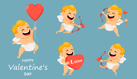 Valentines Day greeting card with cute cupid. Set of smiling cartoon character. Vector illustration