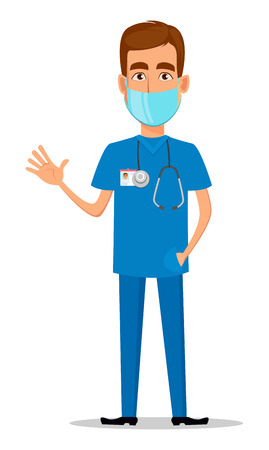 Young professional doctor in mask waving hand. Medical worker. Hospital staff. Cartoon character on white background. Vector illustration.
