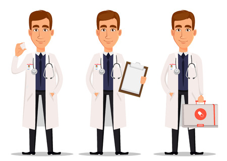Young professional doctor, set with model of tooth, with clipboard and with first aid kit. Medical worker. Hospital staff. Cartoon character on white background. Vector illustration. Illustration