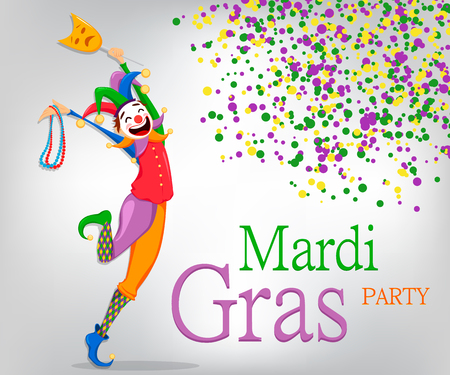 Mardi Gras jester in a mask holding necklaces for poster, greeting card, party invitation, banner or flyer on background with colored dots. Cheerful cartoon character. Vector Illustration.